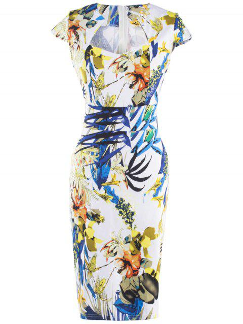Chic Women's Floral Print High Waist Sheath Dress - WHITE S