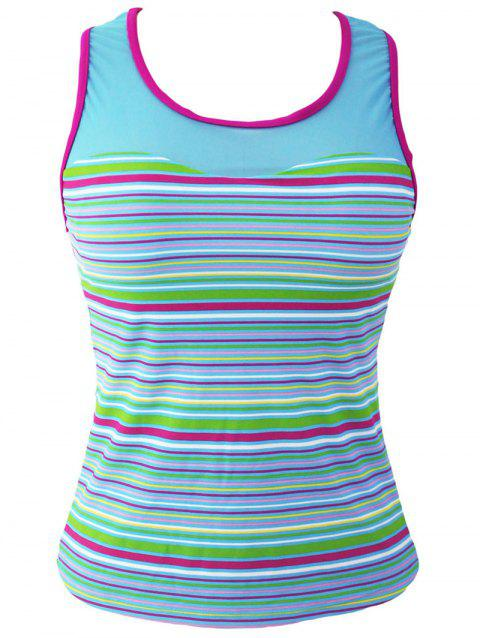 Striped Racerback Padded Tankini Top - STRIPE S