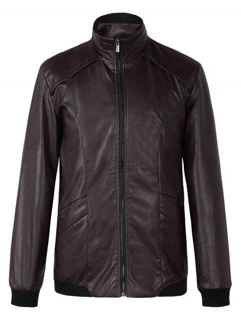 Brief stand Collar manches longues Pure Color Leather Jacket For Men - Chocolat XL