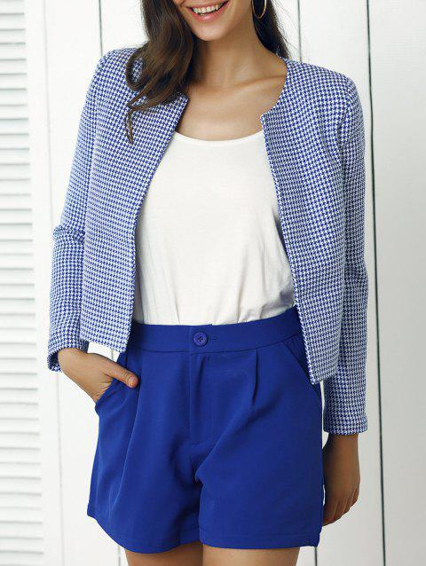 Houndstooth Pattern Coat and Pure Color Shorts Twinset - BLUE L