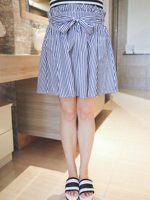 Plus Size Sweet Tie-Front Striped Skirt - BLUE/WHITE 2XL