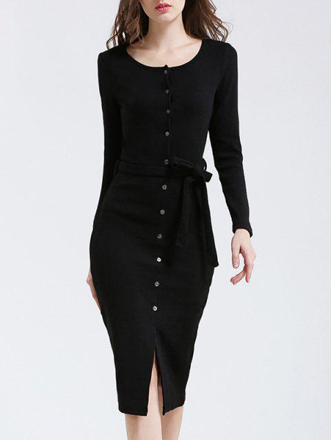Belted Button Up Bodycon Long Sleeve Midi Jumper Dress - BLACK M