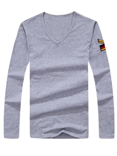 Army Style Long Sleeve V Neck Embroidery Tee - GRAY L