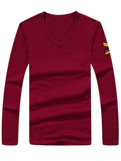 Army Style Long Sleeve V Neck Embroidery Tee - WINE RED L