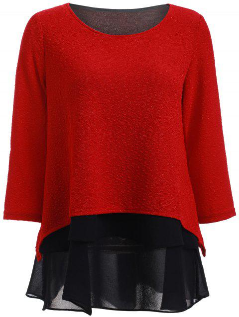 Stylish 3/4 Sleeve Splicing Women's Blouse - RED 2XL