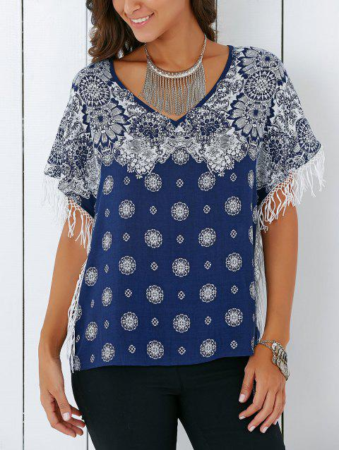Vintage V Neck Tribal Print Fringed Blouse - DEEP BLUE S