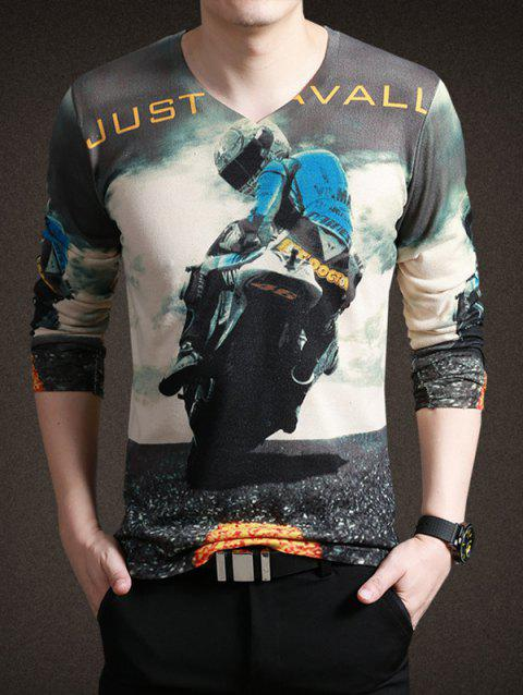 Stylish Moto Print V-Neck Long Sleeves Tee For Men - COLORMIX 3XL