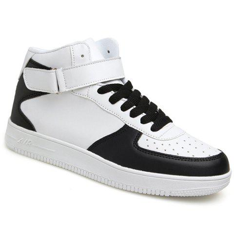 Fashionable High Top and PU Leather Design Men's Athletic Shoes - WHITE/BLACK 42