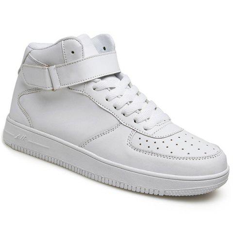 Fashionable High Top and PU Leather Design Men's Athletic Shoes - WHITE 43