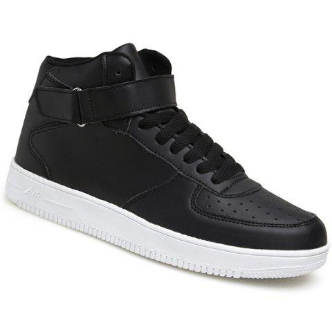 Fashionable High Top and PU Leather Design Men's Athletic Shoes - BLACK 42