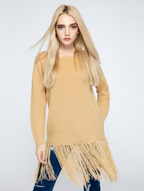 Tassel Embellished Pure Color Sweater - YELLOW ONE SIZE