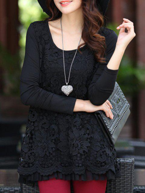 Charming Scoop Neck Lace Spliced Hollow Out Women's Blouse - BLACK L