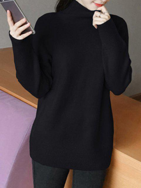 Sweet High Neck Candy Color Sweater - BLACK ONE SIZE