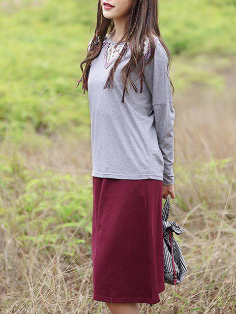 Chic Cut Out Spliced T-Shirt + Solid Color Pocket Design Skirt Women's Twinset - GRAY XL