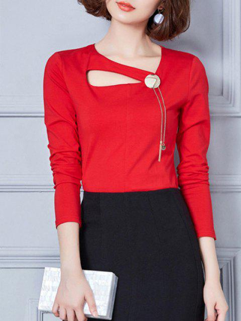 Long Sleeve Hollow Out T-Shirt - RED M