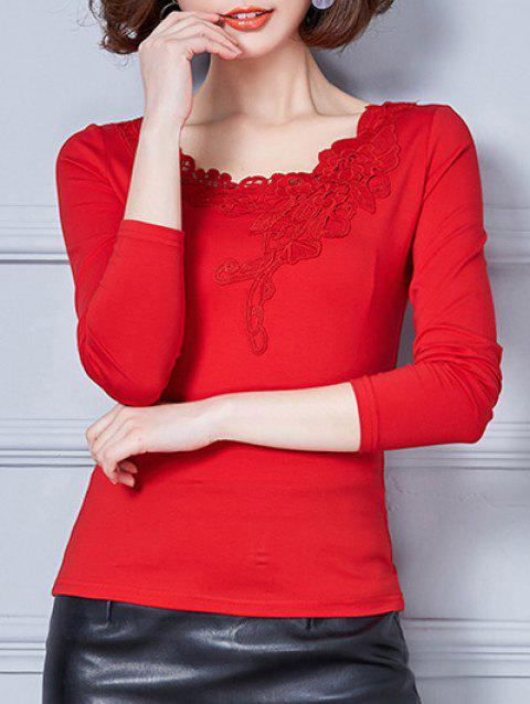 Fitted Lace Insert T-Shirt - RED M
