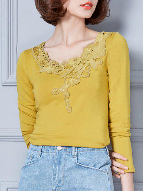 Fitted Lace Insert T-Shirt - YELLOW 2XL