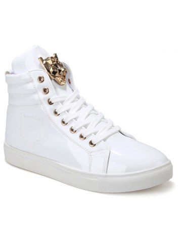 9cd2a3c9131f63 Trendy High Top and Metal Design Men s Casual Shoes