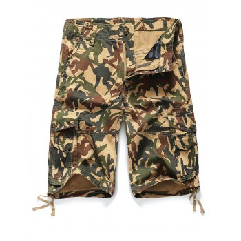 Straight Leg Camouflage Pattern Zipper Fly Pockets Embellished Men's Shorts - CAMOUFLAGE M