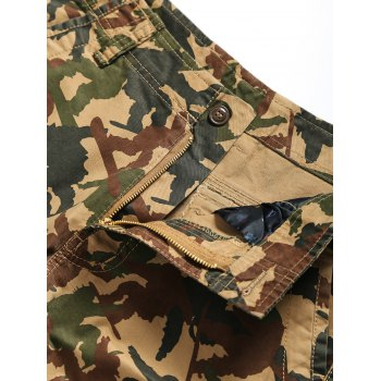 Straight Leg Camouflage Pattern Zipper Fly Pockets Embellished Men's Shorts - M M