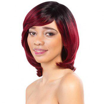 Charming Wine Red Mixed Black Women's Short Straight Side Bang Synthetic Wig