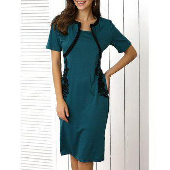 Elegant Applique Two-Tone Dress For Women