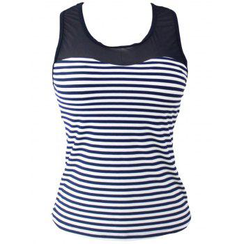 Mesh Panel Racerback Stripe Padded Tankini Top - STRIPE STRIPE