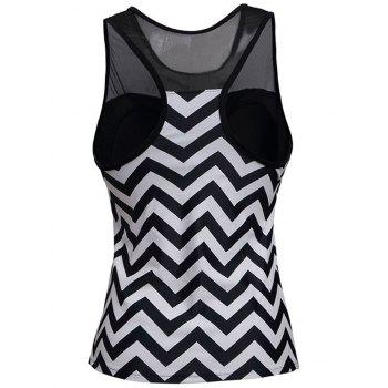Zigzag Mesh Panel Padded Racerback Tankini Swimwear - STRIPE 2XL