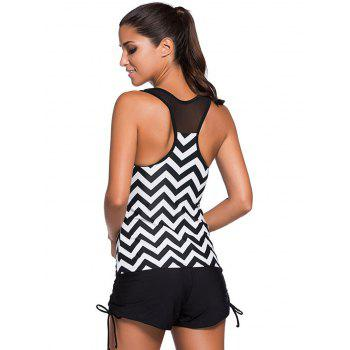 Élégant Zigzag Stripe Mesh Spliced ​​Racerback Swim Top - Rayure 2XL