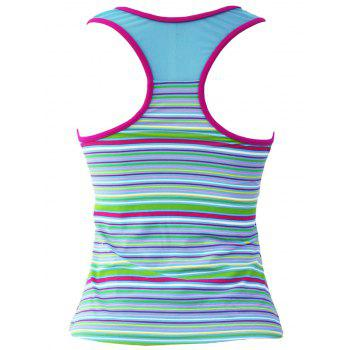 Élégant Stripe Colorful Mesh Spliced ​​Racerback Swim Top - Rayure S