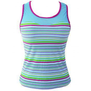 Striped Racerback Padded Tankini Top