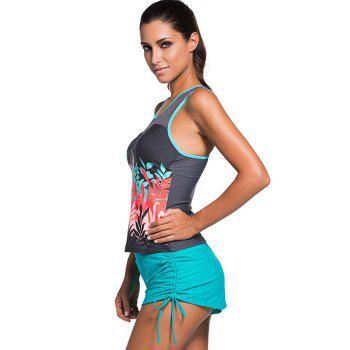 Mesh Panel Padded Racerback Tankini Swimwear - 2XL 2XL