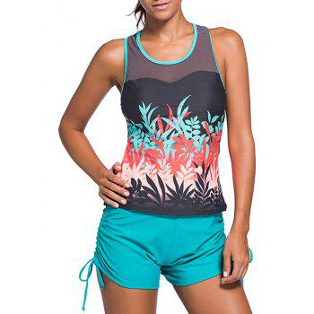Stylish Print Mesh Spliced Racerback Swim Top