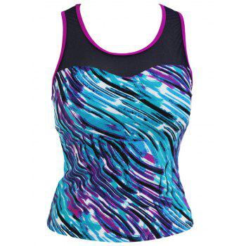 Tie Dye Mesh Panel Padded Racerback Tankini Top - COLORMIX COLORMIX