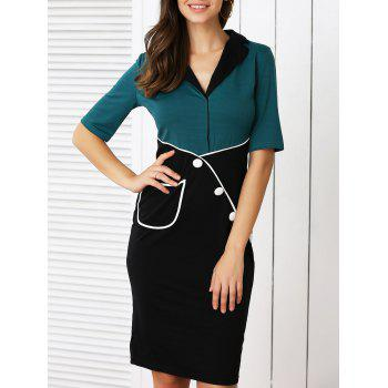 Vintage Style Color Block Buttoned Pencil Dress