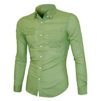 Pockets Front Solid Color Long Sleeve Men's Button-Down Shirt