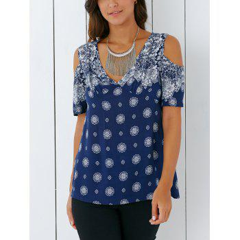 Bohemian Cold Shoulder Tribal Print Blouse - XL XL