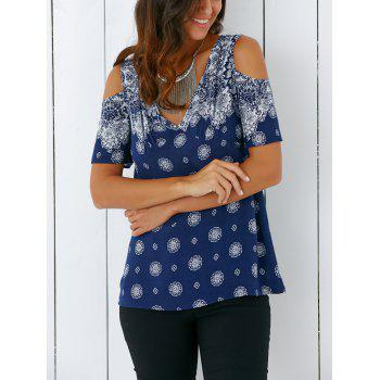 Bohemian Cold Shoulder Tribal Print Blouse - DEEP BLUE XL