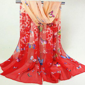 Literature Artist Style Butterfly and Flower Pattern Women's Chiffon Scarf