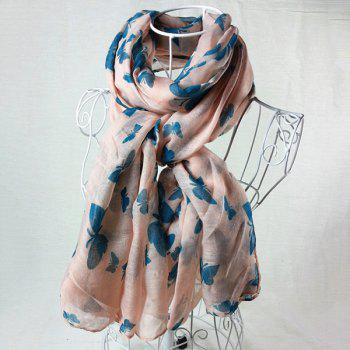 Literature Artist Style Plain Color Butterfly Painting Pattern Women's Scarf