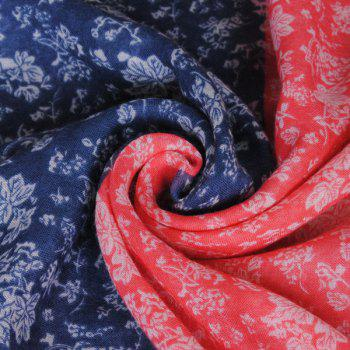 Chinese Ethnic Style Tiny Floral Pattern Tassel Pendant Women's Voile Scarf - RED