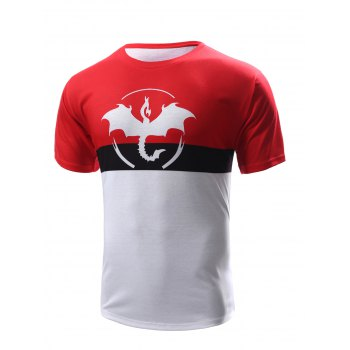 Abstract Print Color Block Men's Round Neck Short Sleeves T-Shirt