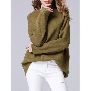 Elegant Dolman SLeeve Pure Color Loose-Fitted Chunky Sweater