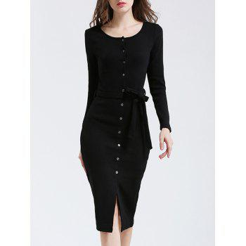 Belted Button Up Bodycon Long Sleeve Midi Jumper Dress