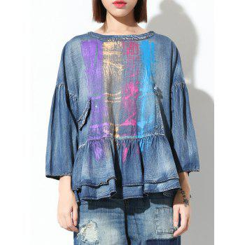 Colorful Loose Flounce Blouse