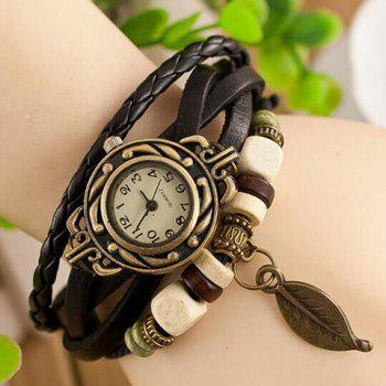 Leaf Pendant Multi-Layered Bracelet Watch