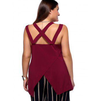 Alluring Plus Size Criss Cross Cut Out Asymmetrical Women's Blouse - WINE RED 5XL