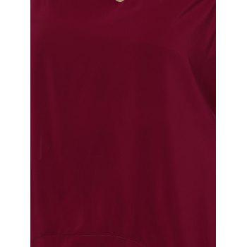 Alluring Plus Size Criss Cross Cut Out Asymmetrical Women's Blouse - WINE RED 4XL