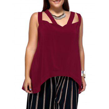 Alluring Plus Size Criss Cross Cut Out Asymmetrical Women's Blouse - WINE RED WINE RED