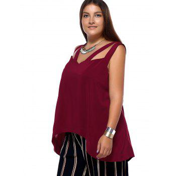 Alluring Plus Size Criss Cross Cut Out Asymmetrical Women's Blouse - WINE RED 2XL
